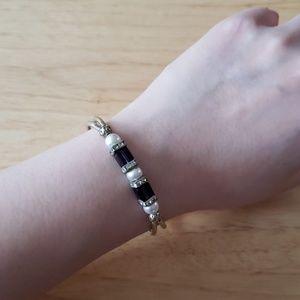Amethyst and pearl bracelet